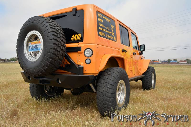 Poison Spyder RockBrawler II Rear Bumper, Jeep (2007-15) Wrangler JK, with Tire Carrier (Raw Steel)