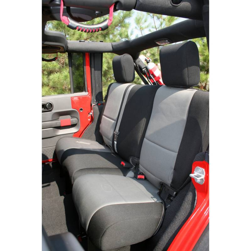 Jeep Wrangler Interior >> Neoprene Rear Seat Cover, Black/Gray; 07-15 Jeep Wrangler Unlimited JK