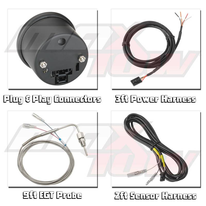 MaxTow White Double Vision EGT/Pyrometer Gauge, 1500 F on sensor wire harness, packaging wire harness, microwave wire harness, relay wire harness, pump wire harness, probe wire harness, cone wire harness, psi wire harness, burner wire harness,
