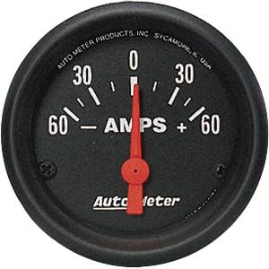 Auto Meter 2644 Z-Series 2-1//16 60-0-60 amps Short Sweep Electric Ammeter Gauge
