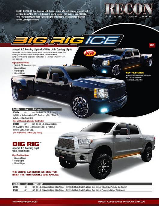 "Recon BIG RIG ""ICE"" Running Lights, 62"" Amber with White ..."