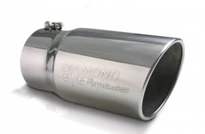 "Diamond Eye Performance - Diamond Eye Performance Exhaust Tip,  4"" Inlet - 5"" Outlet - 12"" Long, Logo Embossed, Stainless Steel"