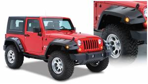 Bushwacker - Bushwacker Fender Flares,Jeep (2007-14) Wrangler Extended Coverage Fender Flare Front Pair(Pocket Style)