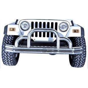 Rugged Ridge - Rugged Ridge Defender Front Bumper, Stainless Steel (1955-06) Jeep CJ/Wrangler YJ/TJ