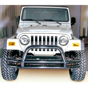 Rugged Ridge - Rugged Ridge Double Tube Front Bumper w/ Hoop, 3 Inch (1976-06) Jeep CJ/Wrangler YJ/TJ