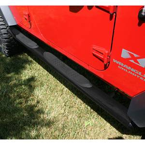 Rugged Ridge - Oval Tube Side Steps, 4 1/4 Inch, Black; 07-15 Wrangler Unlimited JK
