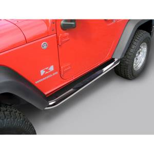 Rugged Ridge - Round Tube Side Steps, 3 Inch, Stainless; 07-15 Jeep Wrangler 2 Door