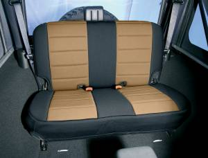 Rugged Ridge - Neoprene Rear Seat Cover, Black and Tan; 07-15 Jeep Wrangler JK