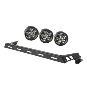 Rugged Ridge - Hood Light Bar Kit, Textured Black, 3 Round LEDs; 07-15 Wrangler JK