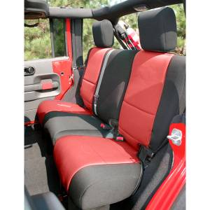 Rugged Ridge - Neoprene Rear Seat Cover, Black/Red; 07-15 Jeep Wrangler Unlimited JK