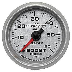Autometer - Auto Meter Ultra Lite II Series, Boost Pressure 0-60psi (Mechanical)