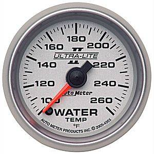 Autometer - Auto Meter Ultra Lite II Series, Water Temperature 100*-260*F (Full Sweep Electric)