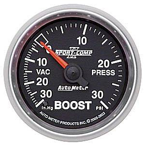 "Autometer - Auto Meter Sport-Comp II Series, Boost/Vacuum Pressure 30"" HG/30psi (Mechanical)"