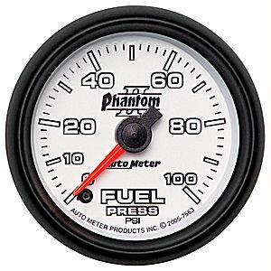 Autometer - Auto Meter Phantom II Series, Fuel Pressure 0-100psi (Full Sweep Electric)