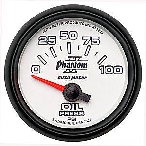 Autometer - Auto Meter Phantom II Series, Oil Pressure 0-100psi (Short Sweep Electric)