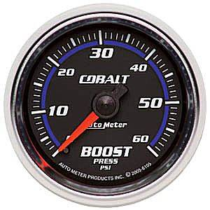 Autometer - Auto Meter Cobalt Series, Boost Pressure 0-60psi (Mechanical)