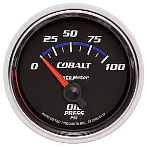 Autometer - Auto Meter Cobalt Series, Oil Pressure 0-100psi (Short Sweep Electric)