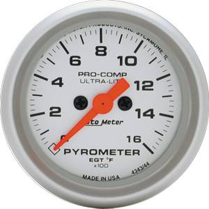 Autometer - Auto Meter Ultra Lite Series, Pyrometer Kit 0*-1600*F (Full Sweep Electric)