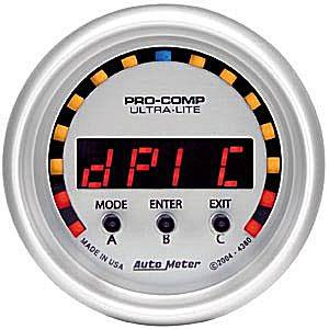 Autometer - Auto Meter Ultra Lite Series, D-PIC -2G-+2G (Full Sweep Electric)