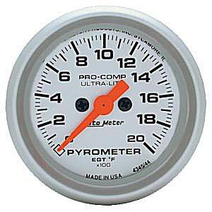 Autometer - Auto Meter Ultra Lite Series, Pyrometer 0*-2000*F (Full Sweep Electric)