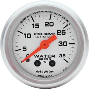 Autometer - Auto Meter Ultra Lite Series, Water Pressure 0-35psi (Mechanical)