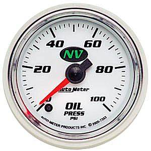 Autometer - Auto Meter NV Series, Oil Pressure 0-100psi (Full Sweep Electric)