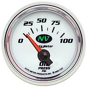 Autometer - Auto Meter NV Series, Oil Pressure 0-100psi (Short Sweep Electric)