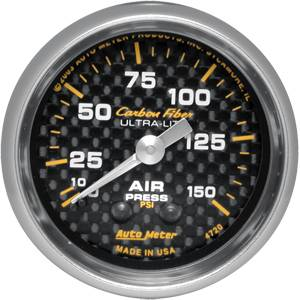 Autometer - Auto Meter Carbon Fiber Series, Air Pressure 0-150, (Mechanical)
