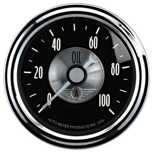 Autometer - Auto Meter Prestige Series, Black Diamond, Oil Pressure 0-100psi (Mechanical)