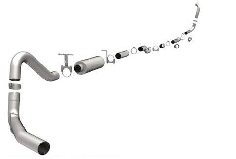 "Magnaflow - MagnaFlow 4"" Turbo Back, Pro Series Exhaust, Ford (2003-07) 6.0L Diesel, Side Rear Exit, Stainless, 4"" Downpipe"