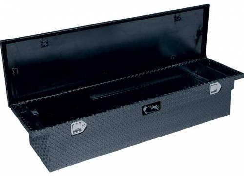 "UWS Tool Boxes - UWS Truck Tool Box, 69""L x 19.25""W x 17.5""H Aluminum Diamond Plate, Single Lid, Low Profile, Deep Box, Black"