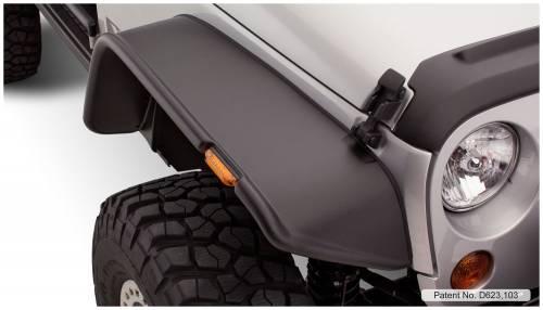 Bushwacker - Bushwacker Fender Flares, Jeep Front (2007-13) Wrangler Pair OE Matte Black (Flat Style)