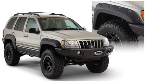 Bushwacker - Bushwacker Fender Flares,Jeep (1987-95) Wrangler (1999-04) Grand Cherokee Front Pair(Cut-Out)