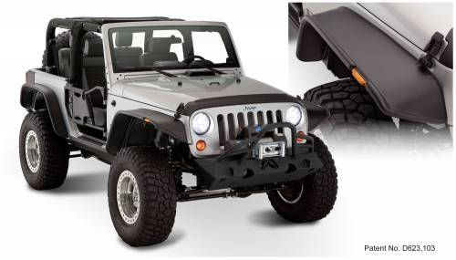 Bushwacker - Bushwacker Fender Flares, Jeep (2007-14) Wrangler Set of 4 OE Matte Black (Flat Style)