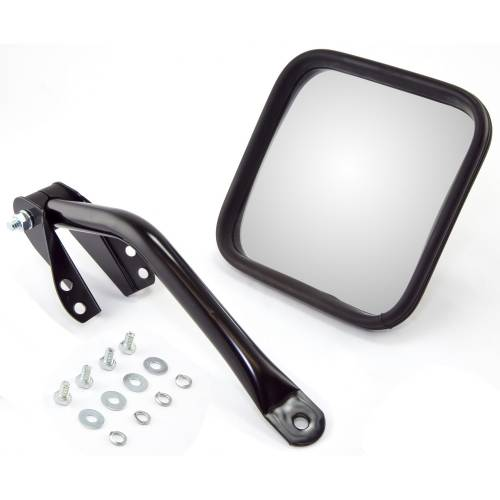 Rugged Ridge - Mirror Head and Arm Kit, Black, Left Side; 55-86 Jeep CJ Models