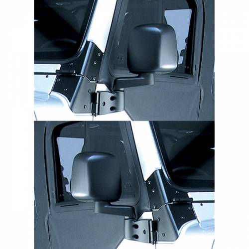 Rugged Ridge - Rugged Ridge Door Mirror Kit, Black (1987-06) Jeep Wrangler