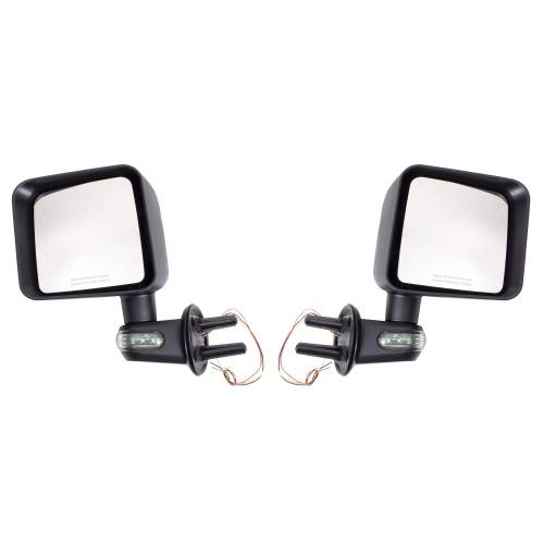 Rugged Ridge - Rugged Ridge Door Mirror Kit with Turn Signals, Black (2007-15) Jeep Wrangler JK