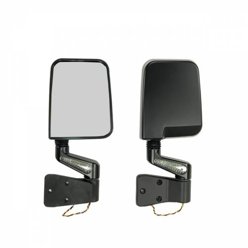 Rugged Ridge - Rugged Ridge Door Mirror Kit, LED Turn Signals, Black (1987-02) Jeep Wrangler YJ/TJ