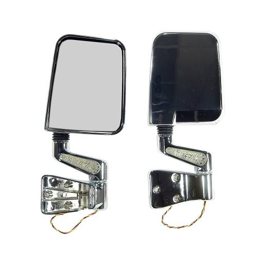Rugged Ridge - Rugged Ridge Door Mirror Kit, LED Turn Signals, Chrome (1987-02) Jeep Wrangler