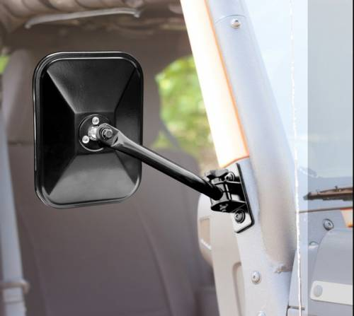 Rugged Ridge - Quick Release Side Mirror, Black, Rectangular; 97-15 Jeep Wrangler