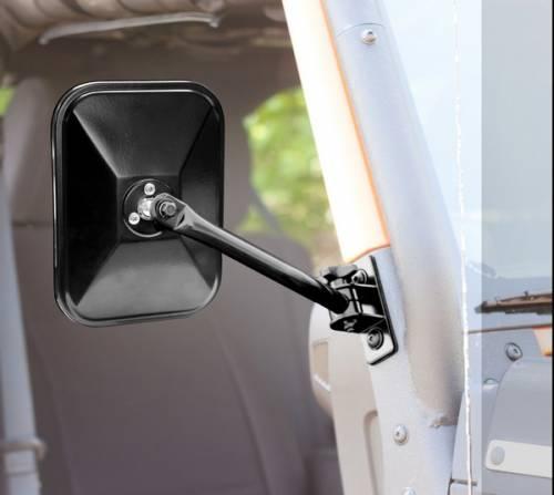 Rugged Ridge - Quick Release Side Mirror, Black, Rectangular; 97-15 Jeep Wrangler
