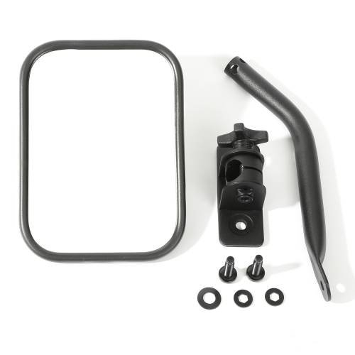 Rugged Ridge - Quick Release Mirror, Textured Black, Rectangular; 97-15 Jeep Wrangler