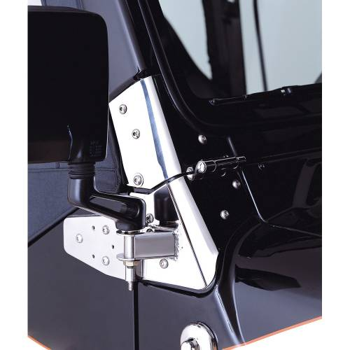 Rugged Ridge - Mirror Relocation Brackets, Stainless Steel; 97-06 Jeep Wrangler TJ