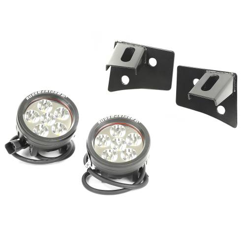 Rugged Ridge - Rugged Ridge Windshield Bracket LED Kit, Black, Round (2007-15) Jeep Wrangler JK