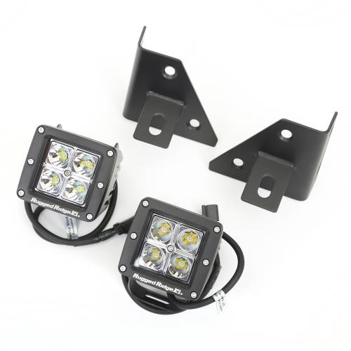 Rugged Ridge - Rugged Ridge Windshield Bracket LED Kit, Black, Square (1976-95) CJ/Wrangler YJ