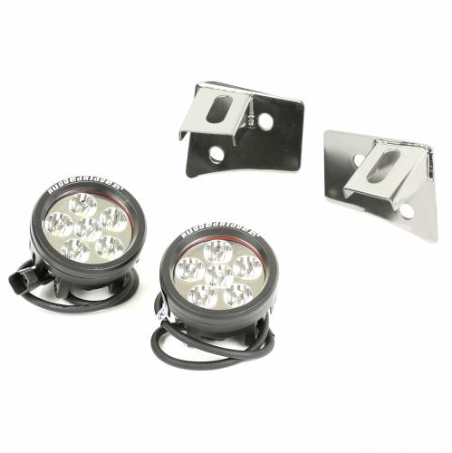 Rugged Ridge - Rugged Ridge Windshield Bracket LED Kit, Stainless Steel, Round (2007-15) Wrangler JK