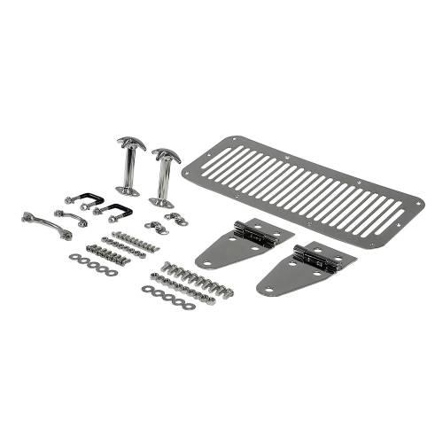Rugged Ridge - Hood Kit, Stainless Steel; 76-86 Jeep CJ and 87-95 Jeep Wrangler