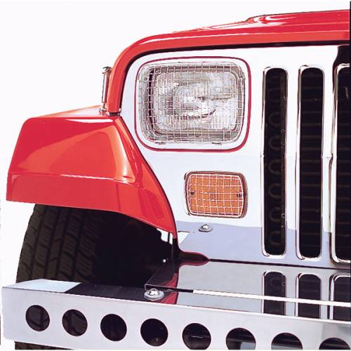 Rugged Ridge - Rugged Ridge Stone Guard Set, Stainless Steel (1987-95) Jeep Wrangler YJ