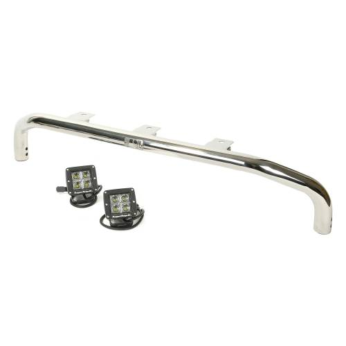 Rugged Ridge - Rugged Ridge Bumper Mounted Light Bar Kit, Stainless Steel, Square (2007-15) Wrangler