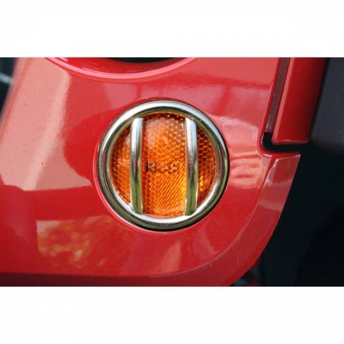 Rugged Ridge - Rugged Ridge Turn Signal Light Euro Guards, Stainless (2007-15) Jeep Wrangler JK